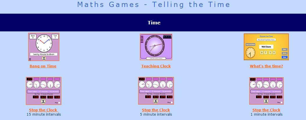 Time Maths Games